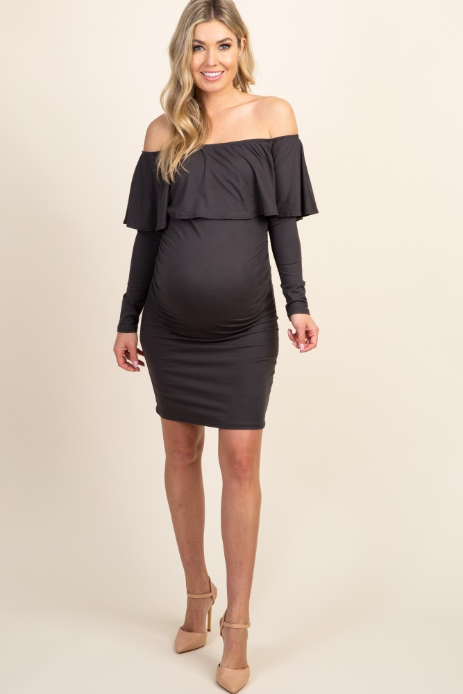 6dadf78057 Charcoal Ruffle Trim Off Shoulder Fitted Maternity Dress