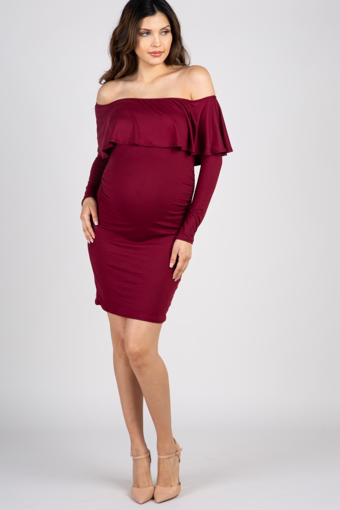 f8841a3980 Burgundy Ruffle Trim Off Shoulder Fitted Maternity Dress