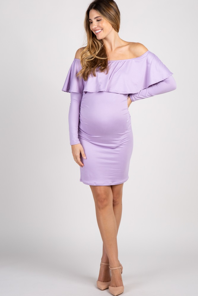 f667b36774 Lavender Ruffle Trim Off Shoulder Fitted Maternity Dress
