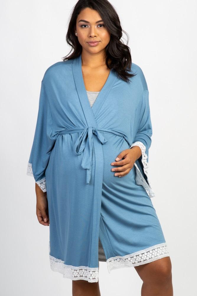 blue crochet trim maternity plus delivery/nursing robe