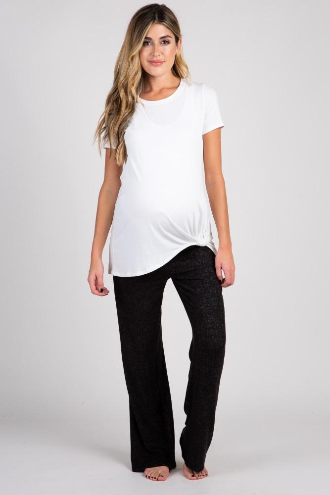black heathered maternity lounge pants