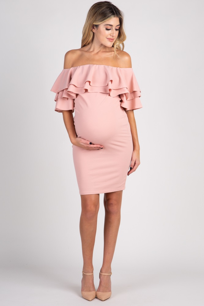 849d704b73 Light Pink Layered Ruffle Off Shoulder Fitted Maternity Dress