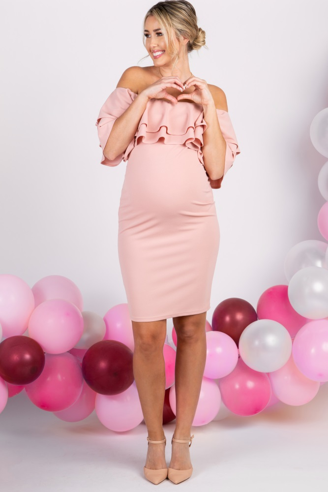 50c71a057d Light Pink Layered Ruffle Off Shoulder Fitted Maternity Dress