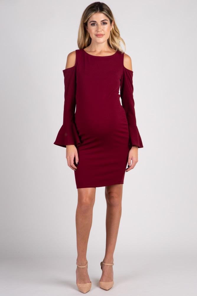 da873eaffda27 Burgundy Cold Shoulder Bell Sleeve Fitted Maternity Dress