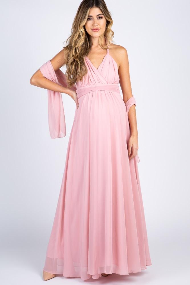 709a2d2cd5665 Light Pink Chiffon Halter Tie Back Maternity Evening Gown