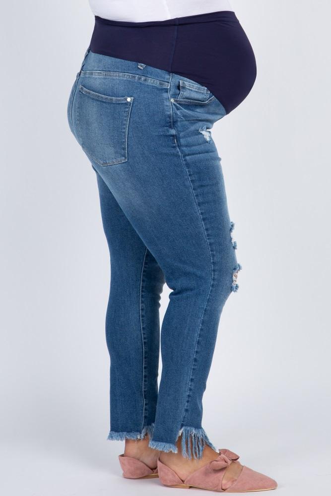 4d2838744e8cc Blue Frayed Hem Distressed Maternity Plus Jeans