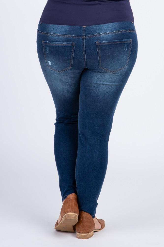 d60397fd9ba93 Navy Blue Fitted Distressed Plus Maternity Jeans