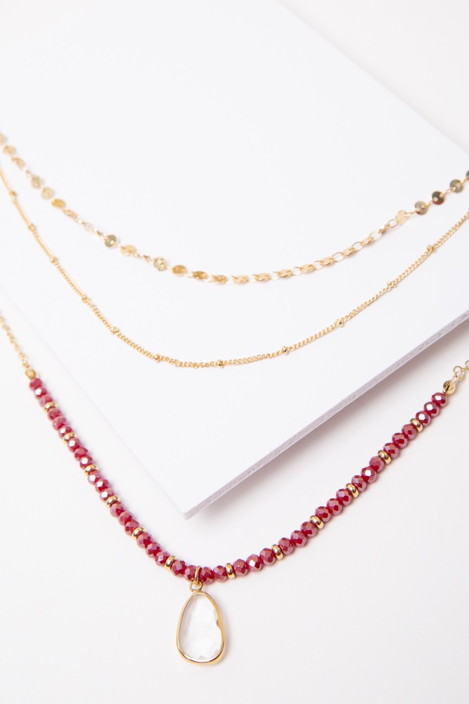burgundy beaded glass charm layered necklace