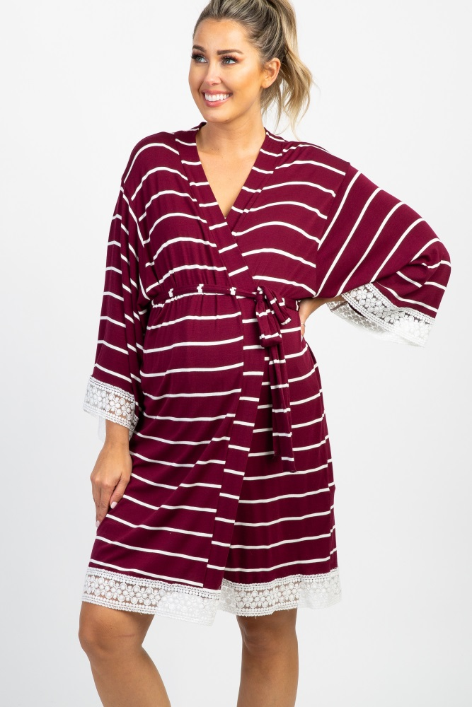 2bc108dab442d Burgundy Striped Lace Trim Delivery/Nursing Maternity Robe