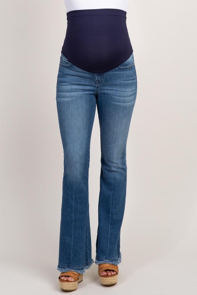 2aa0a4370de78 Blue Scallop Frayed Hem Maternity Flare Jeans