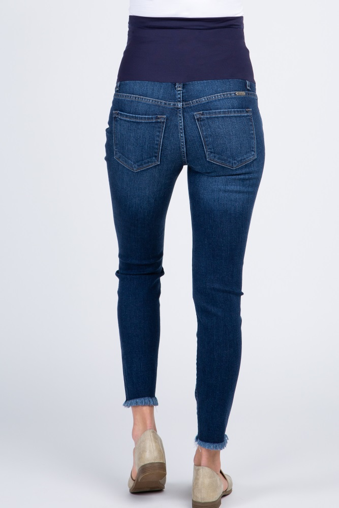 42e12d271a5ff Navy Blue Ripped Frayed Maternity Skinny Jeans