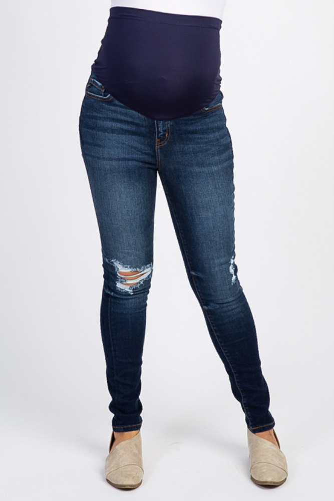2bf092df37508 Navy Blue Distressed Maternity Skinny Jeans