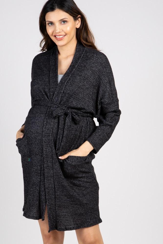 black waffle knit delivery/nursing maternity robe