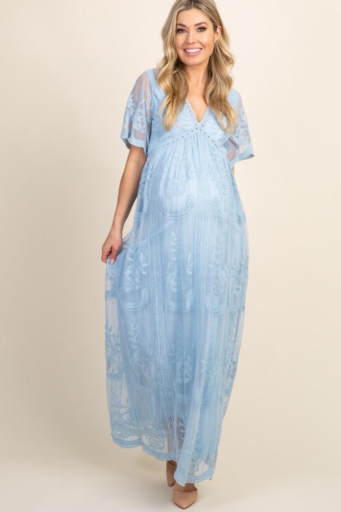 Light Blue Lace Mesh Overlay Maternity Maxi Dress
