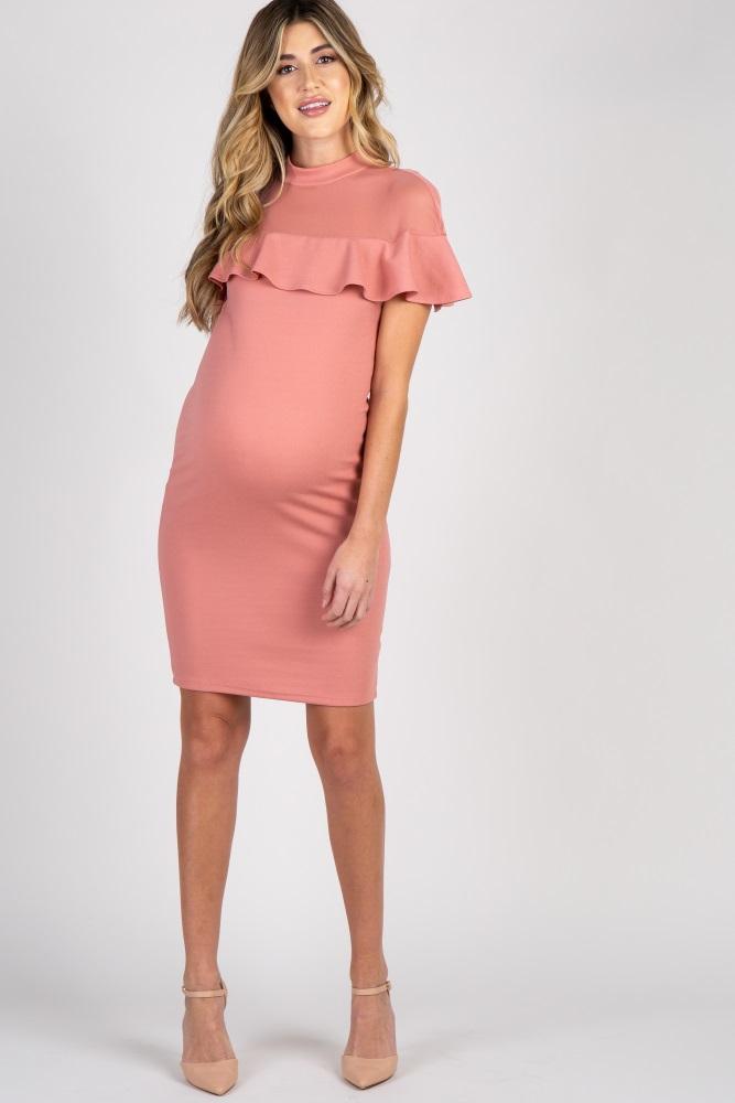New PINKBLUSH MATERNITY Pink Mauve Women/'s Maternity Dress Large