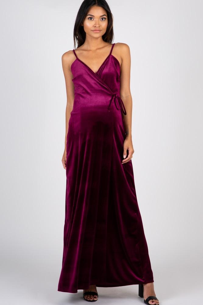 20b56c2d95 Burgundy Velvet Wrap Self Tie Maternity Maxi Dress