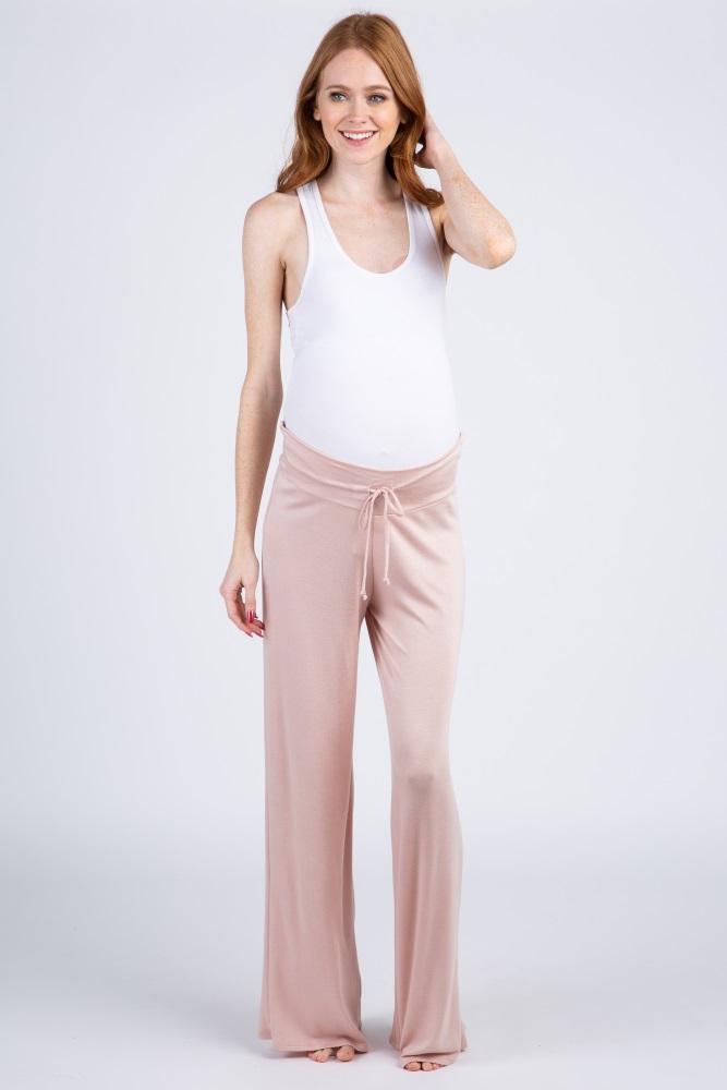 pink solid drawstring maternity lounge pants