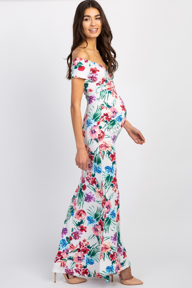 5e8c8521260 Cream Tropical Floral Off Shoulder Wrap Maternity Photoshoot Gown Dress