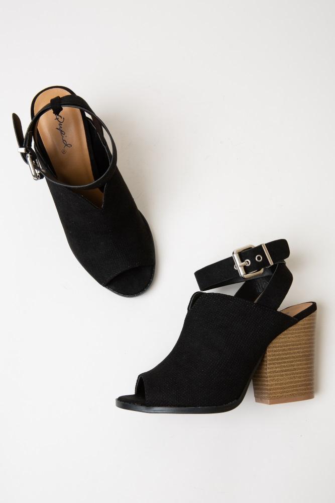 152b9750cfd Black Faux Suede Open Toe Block Heel Bootie