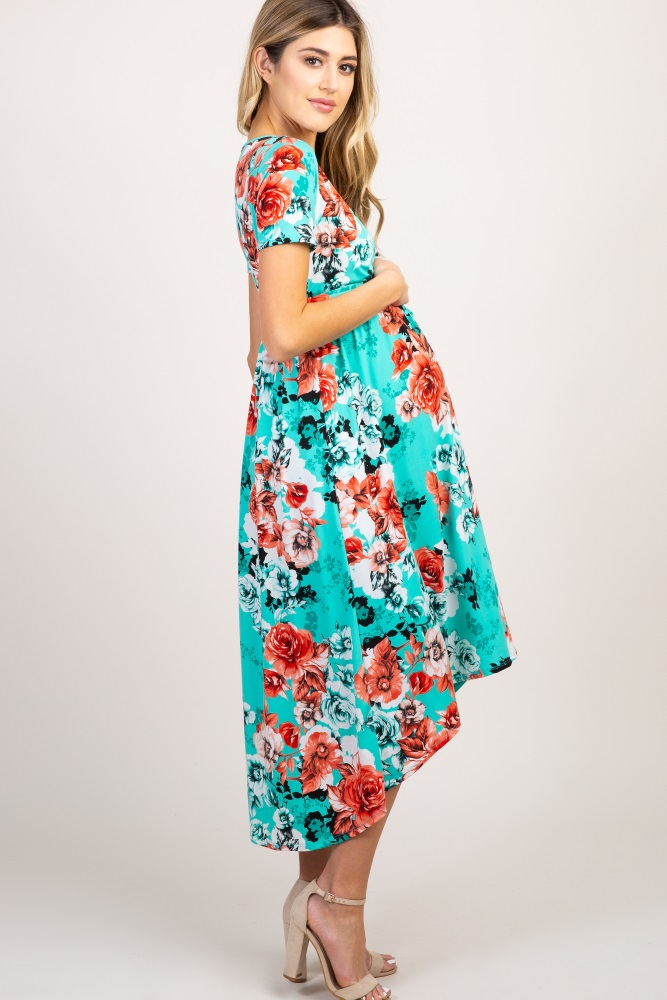 a441b1a8cb979 Aqua Floral Hi Low Maternity Wrap Dress