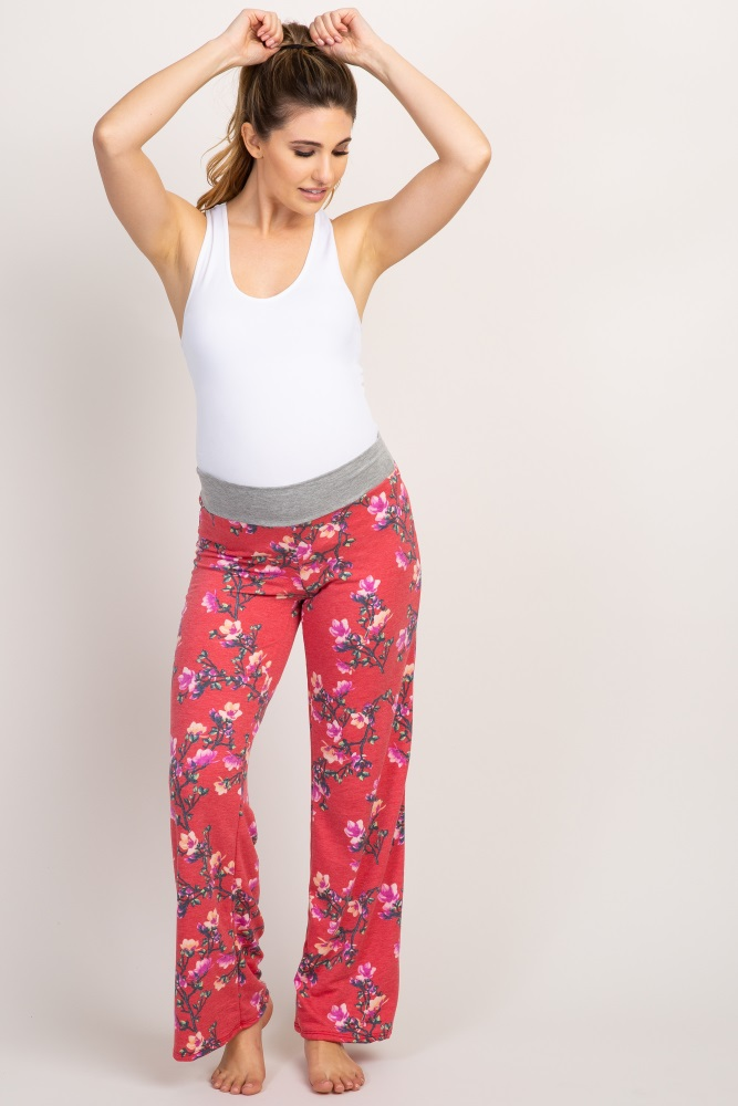 red floral maternity lounge pants