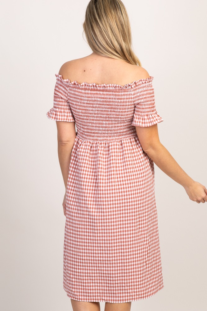 aa227079902bc Rust Gingham Smocked Off Shoulder Maternity Dress