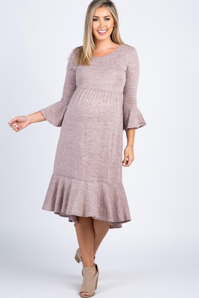 Pink Soft Knit 3/4 Bell Sleeve Maternity Midi Dress