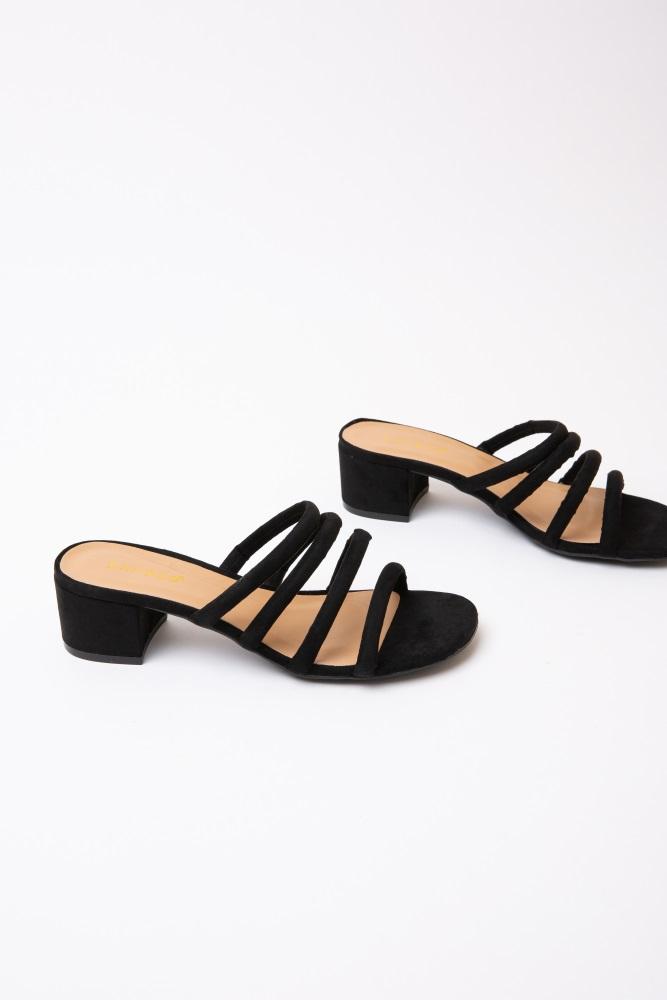 87a3f2b0fe8 Black Faux Suede Strappy Block Heel Sandals