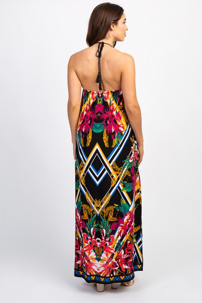 00828c51849 Black Floral Abstract Printed Halter Maternity Maxi Dress