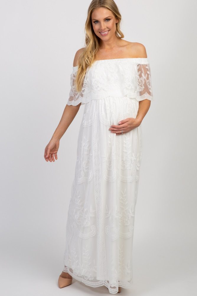 White Lace Mesh Overlay Off Shoulder Maternity Maxi Dress