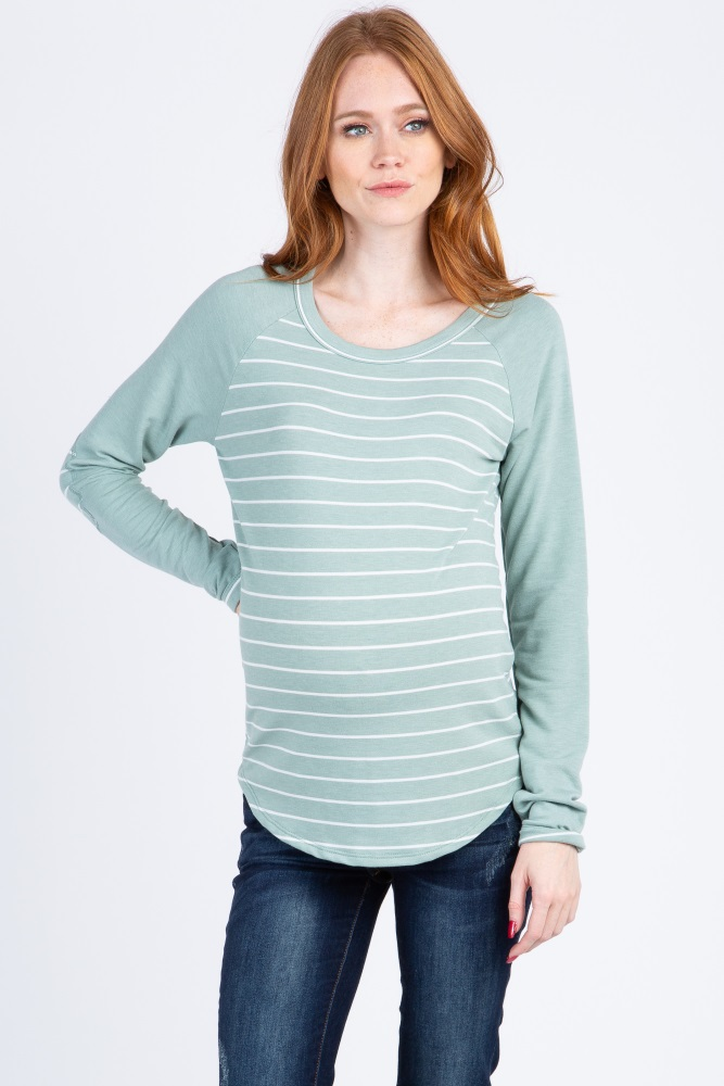 c79f4547a9bd6 Mint Green Striped Colorblock Elbow Patch Maternity Top