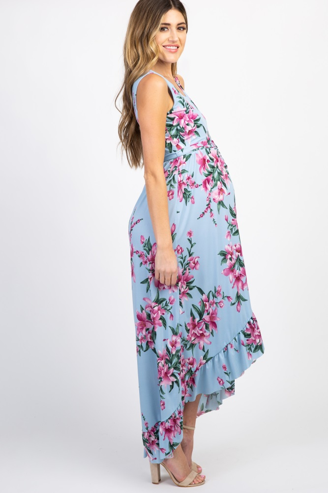 74a22a539099a Light Blue Floral Wrap Hemline Maternity Dress