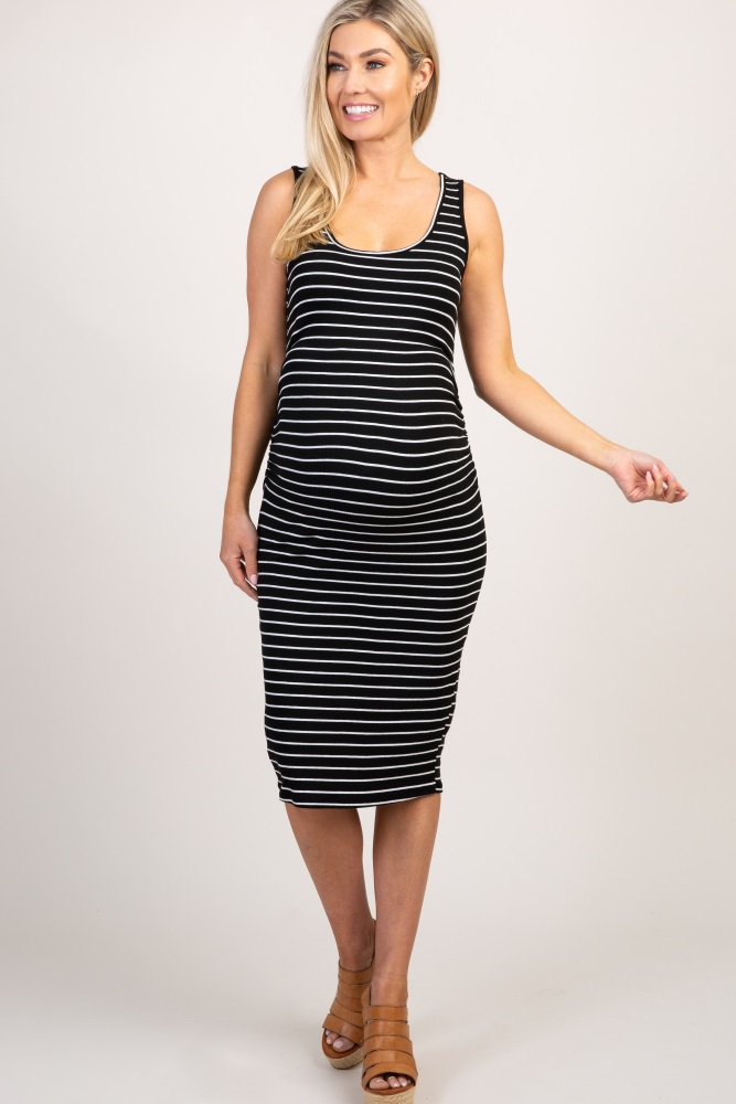 3abdd35f8560a Black Striped Sleeveless Ribbed Maternity Dress