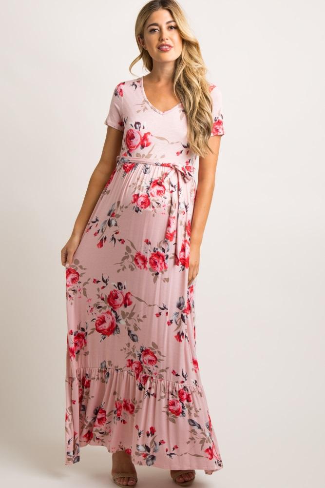 bb0edf1c3 Pink Floral Waist Tie Ruffle Trim Maternity Maxi Dress
