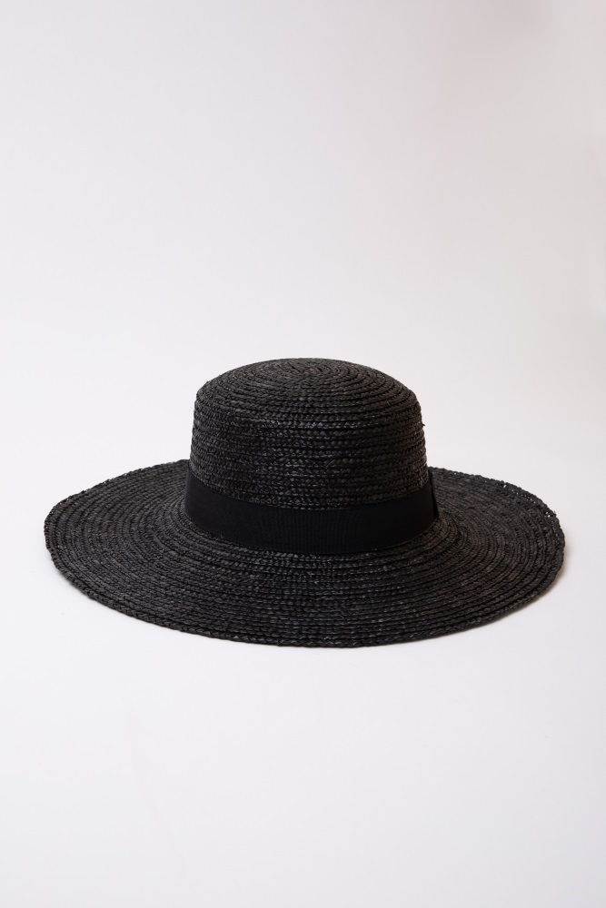c1154d766 Black Bow Tie Band Woven Straw Hat
