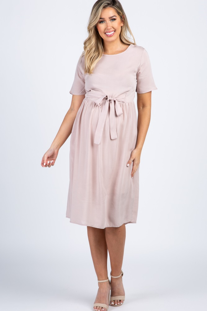 7f88267288efc Light Pink Solid Tie Front Maternity Dress
