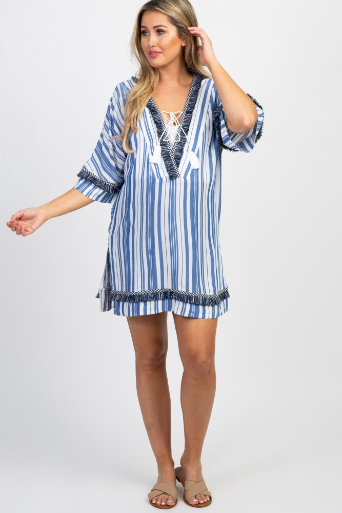 66224d50e9 Blue Striped Fringe Trim Maternity Swimsuit Cover Up