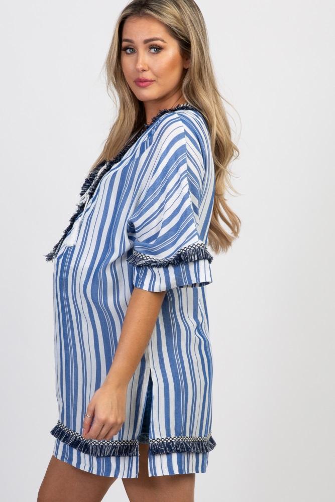 5e9c2bd6d6bc9 Blue Striped Fringe Trim Maternity Swimsuit Cover Up