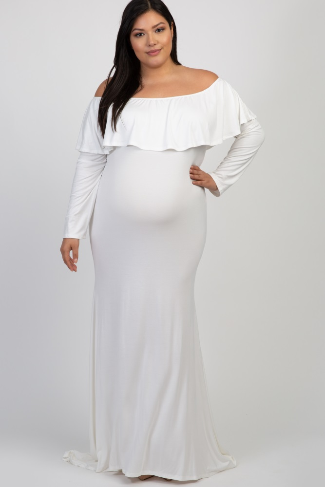 8e8cf66eb30b3 Ivory Off Shoulder Ruffle Maternity Plus Photoshoot Gown/Dress