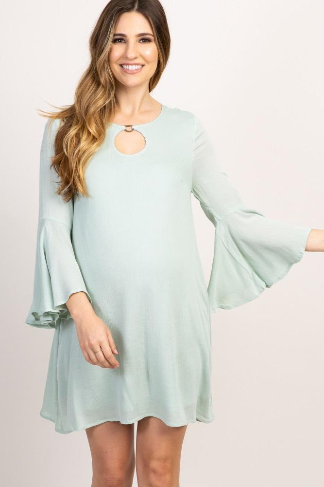 Mint Green Back Crochet Bell Sleeve Maternity Dress