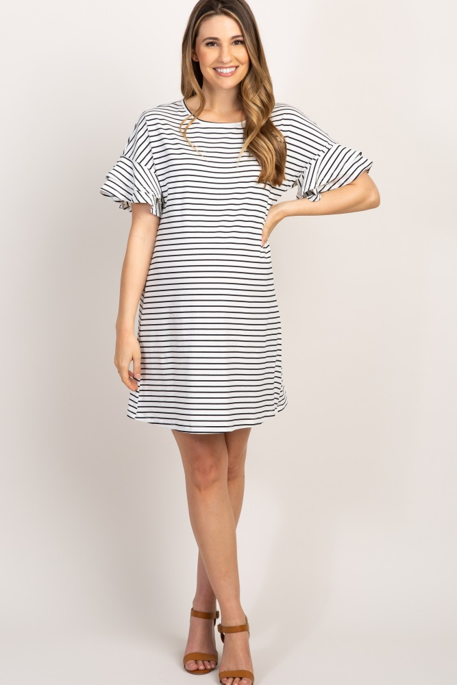 e68879bb0ac0 Ivory Striped Ruffle Sleeve Maternity Dress