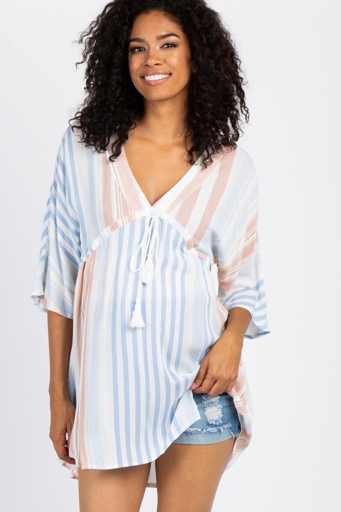 1805b1deaa Complete The Look. Blue Basic Cuffed Maternity Denim Shorts
