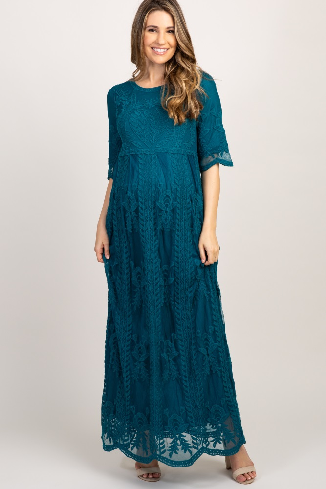 1e46918ef Teal Lace Short Sleeve Maternity Maxi Dress
