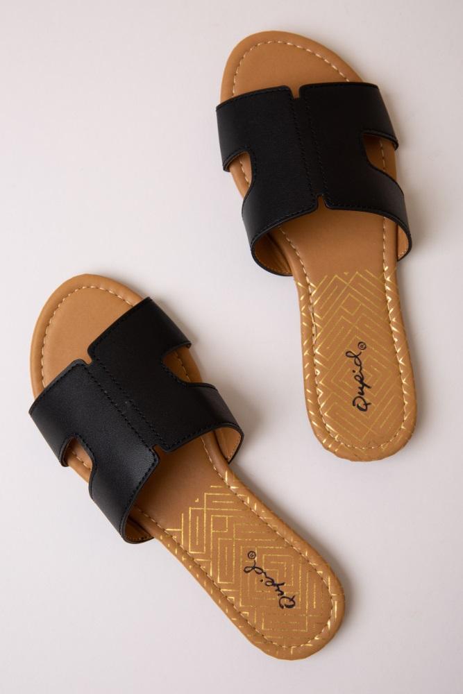 black side cutout slide sandals