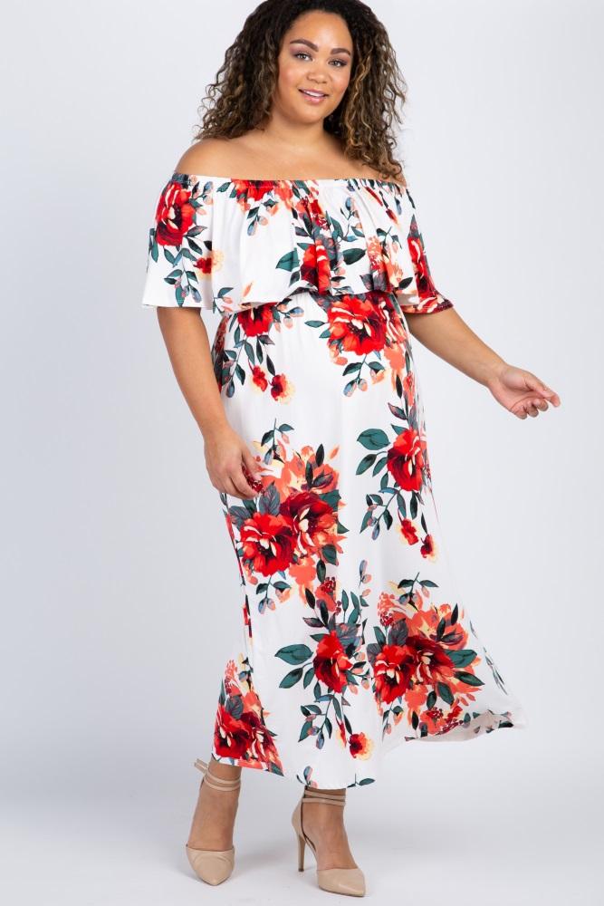 60ce71ccf7a White Floral Off Shoulder Plus Maternity Maxi Dress