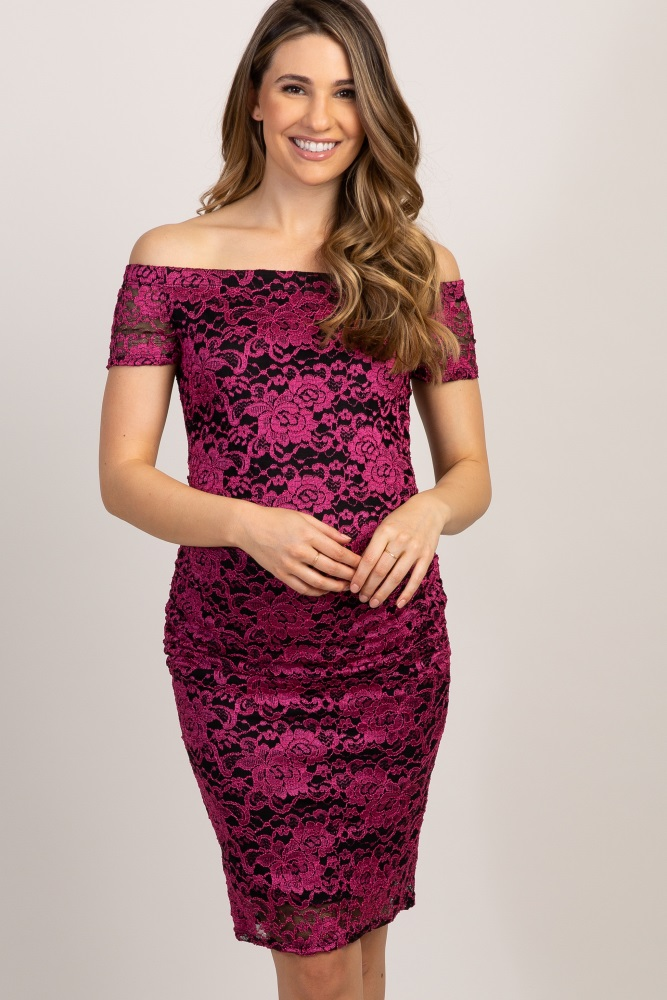 56c1c090d74 Fuchsia Lace Off The Shoulder Maternity Dress
