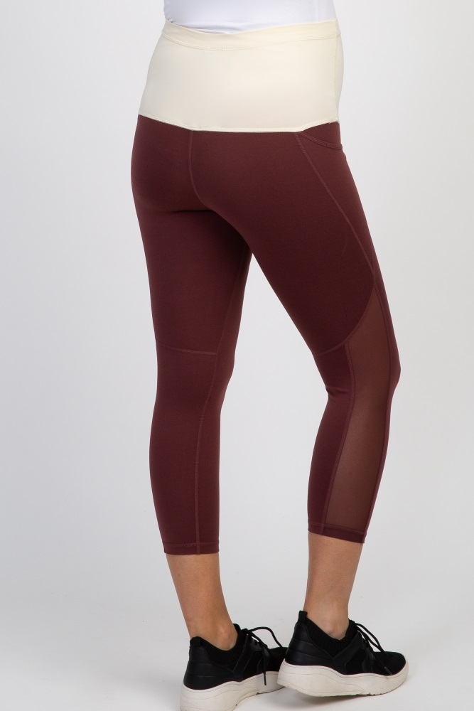 7b24673a4cca8 Burgundy Mesh Panel Cropped Maternity Active Legging