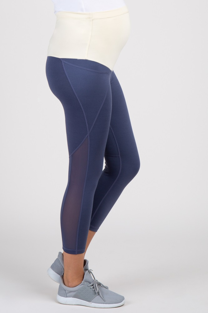 b0954106bd5648 Blue Mesh Panel Cropped Maternity Active Legging