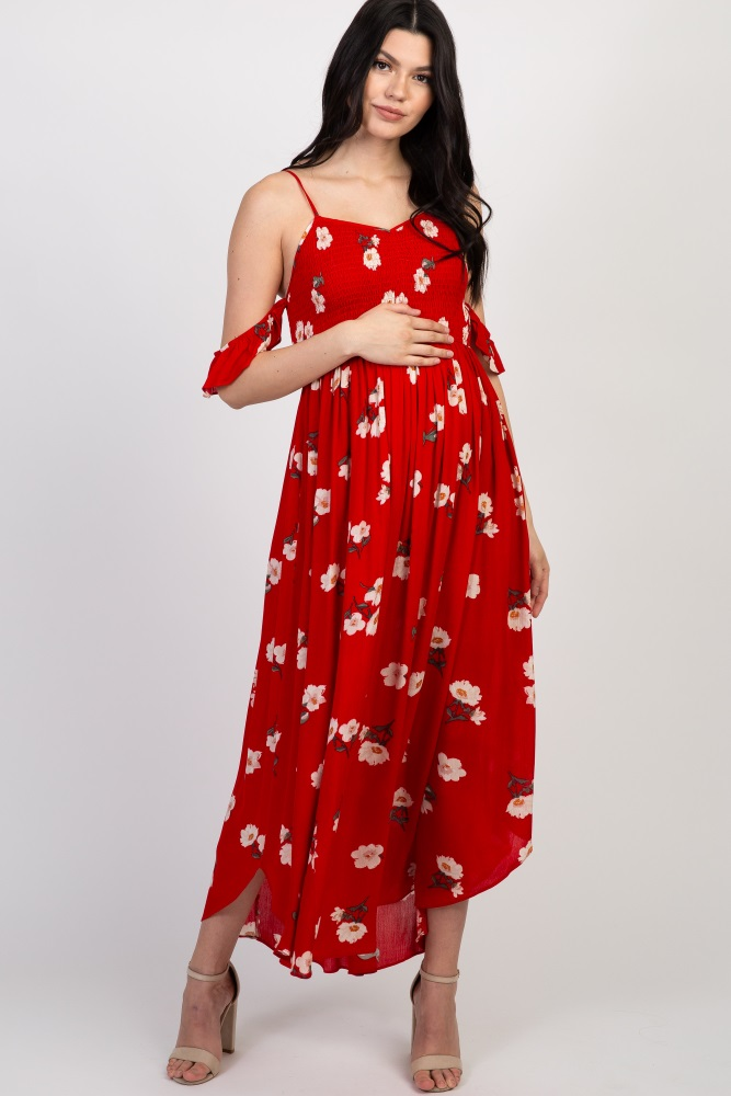 0e1f07f475c75 Red Floral Smocked Cold Shoulder Maternity Dress