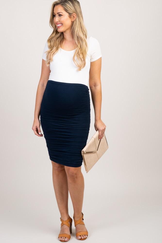 74f0ff42392da Navy Blue Ruched Sides Maternity Skirt